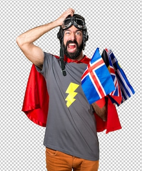 Frustrated superhero with a lot of flags