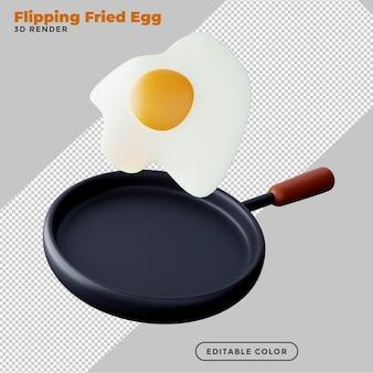卵を最小限に抑えた調理コンセプトの3dレンダリングで揚げるフリッピングパン