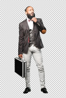Full body black man holding a briefcase
