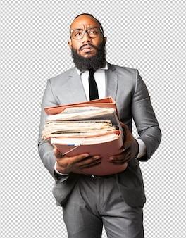 Full body business black man holding files
