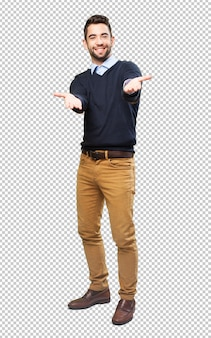 Full body cool man doing a welcome gesture