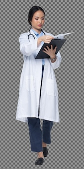 Полная длина тела фигура 20-х годов азиатская женщина носит униформу доктора уайт, штаны, стетоскоп и обувь, медсестра держит подставку для шприцев на белом фоне. изолированный фон, улыбка в профиле.