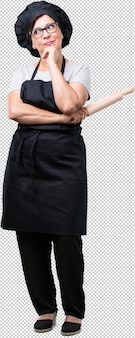 Full body middle aged baker woman doubting and confused, thinking of an idea or worried about something
