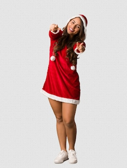 Full body young santa curvy woman cheerful and smiling