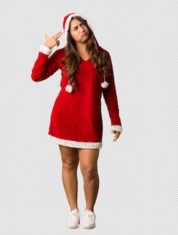 Full body young santa curvy woman doing a suicide gesture