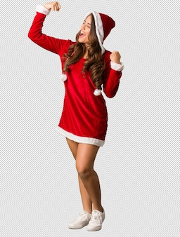 Full body young santa curvy woman who does not surrender