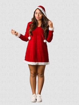 전신 젊은 산타 매력적인 여자 걱정과 압도