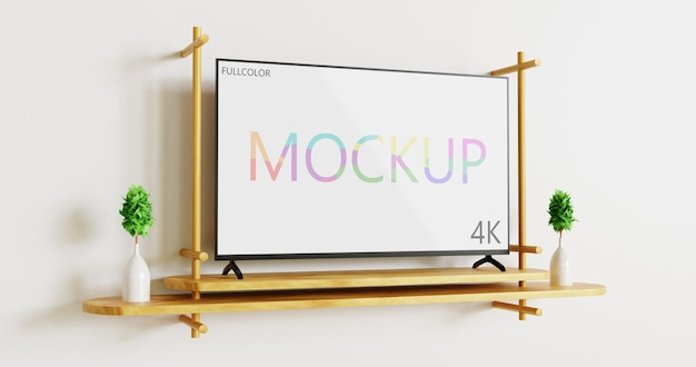 Full color tv mockup on the wooden wall desk side view