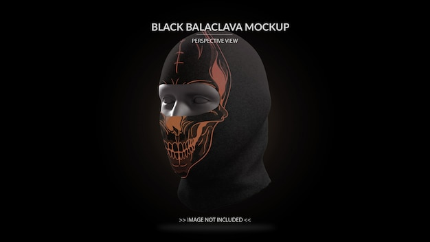 Full face mask black balaclava mockup perspective view - male mannequin
