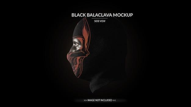 Полнолицевая маска черный балаклава макет вид сбоку - мужской манекен