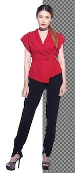 전체 길이 20대 아시아 비즈니스 우먼 검은 머리는 공식적인 빨간 드레스 바지를 입고 카메라를 보고 고립되어 있습니다. 변호사 교사 여성 하이힐 신발, 스튜디오 흰색 배경에 서