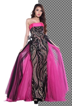 Full length 20s young asian woman in black pink evening gown bal
