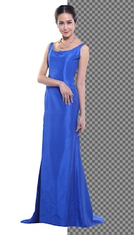 Full length 20s young asian woman in blue silk evening gown ball dress high heels shoes isolated, beautiful girl has elegant stand walk happy smile strong over white background
