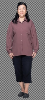 Full length of 60s 70s elderly asian woman black hair purple shirt, stand and fat smart, isolated. senior grandmother standing and turns front rear side back view over white background isolated