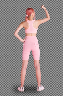20대 아시아 여성의 분홍색 염색 머리, 스포츠 브래지어 짧은 바지, 신발의 전체 길이 뒷면. 여성 여자 운동 요가, 흰색 배경에 고립 된 피트 니스 핑크 잡고 손 강한 성공