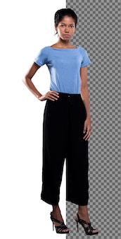 Full length body of 20s asian tanned skin woman wear blue shirt black pants stand on high heels shoes, indian skinny slim girl stand, put hand on waist look at camera, studio white background isolated