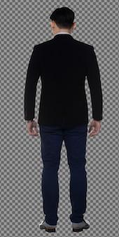 フルレングスのボディ20代のビジネスマンは黒髪のフォーマルなスーツを着て、スタンドを後ろに向けて隔離します。日焼けした肌の筋肉質の男性の立っているターンリアバックサイドビュー、白い背景