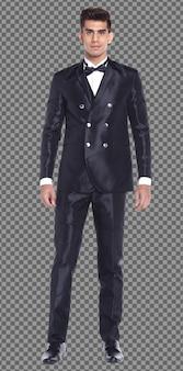 フルレングスのボディ20代白人ビジネスマン黒髪はフォーマルなスーツを着て、孤立した歩行をスタンドします。日焼けした肌の筋肉質の男性の立っている着用結婚式の花嫁花婿のドレス、白い背景