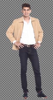 フルレングスのボディ20代の白人男性の黒髪は、スマートでスタンド、隔離されたブレザーの白いシャツを着ています。日焼けした肌の筋肉の男性の立っているショー筋肉ハンサム、白い背景
