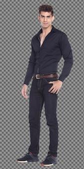 フルレングスのボディ20代の白人男性の黒髪は長袖シャツをスマートに着用し、孤立しています。日焼けした肌の筋肉の男性の立っているショー筋肉ハンサム、白い背景