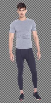 フルレングスのボディ20代の白人男性の黒髪はスポーツカジュアルな灰色のシャツとスタンドウォークを着用し、隔離されています。日焼けした肌の筋肉の男性立って歩くカメラのクロスアームの手を見て、白い背景