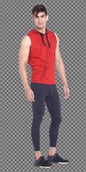 フルレングスのボディ20代の白人男性の黒髪はスポーツの赤いフードカジュアルシャツとスタンドを着用し、隔離されています。日焼けした肌の筋肉質の男性立って歩くカメラ、白い背景を見てください