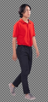 20代アジア人男性黒髪赤ポロシャツパンツスニーカーシューズの全身、スタンドプロファイル。に向かって歩いている若い男性と白い背景の上の左右側を元に戻す孤立した