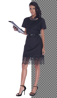 Full length body snap figure, 20s asian business woman smart in formal dress skirt, isolated. tanned skin office girl has short straight black hair stand hold paper files, white background studio