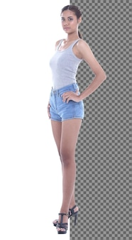 Full length body snap figure, 20s asian casual woman smart in vast short jean pants, isolated. tanned skin girl has short straight black hair stand walk toward smile over white background studio