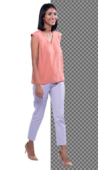 Full length body snap figure, 20s asian office woman smart in pink shirt white pants, isolated. tanned skin girl has short straight black hair stand walk toward smile over white background studio