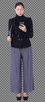 Full length figure of 40s 50s asian lgbtqia+ woman black hair suit pant and shoes, walking phone. female uses smart phone, notebook and stand check over white background isolated