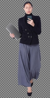 Full length figure of 40s 50s asian lgbtqia+ woman black hair suit pant and shoes, walking phone. female uses smart phone, notebook and walk toward check over white background isolated