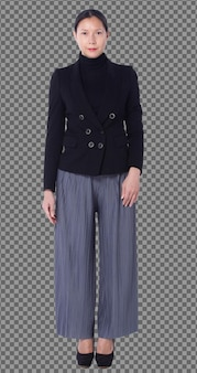 Оснастка фигуры в полный рост 40-х 50-х годов азиатская лгбтк + женщина, черные волосы, костюм, брюки и туфли. женщина стоит и поворачивает передний задний вид сзади на белом фоне изолированные