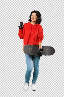 A full length shot of a young skater woman with surprise facial expression