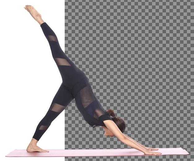 Full length slim body tanned skin 30s 40s asian yoga woman in black spandex dress, isolated. sport girl exercise short black hair practice yoga fitness poses in meditation, studio white background