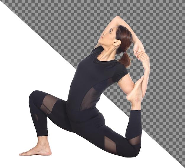 전체 길이의 슬림 바디 검게 그을린 피부 30대 40대 아시아 요가 여성이 검은색 스판덱스 드레스를 입고 고립되어 있습니다. 스포츠 소녀 운동 짧은 검은 머리 연습 요가 피트 니스 명상, 스튜디오 흰색 배경에서 포즈 프리미엄 PSD 파일