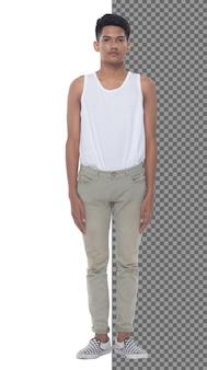 フルレングスのティーンエイジャー15代20代アジアの少年はベストドレスとジーンズパンツスニーカーを着用し、隔離されています。スリムな健康な男性が立って、カメラ、短い黒髪、スタジオの白い背景を自信を持って見てください