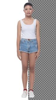 전체 길이의 15대 20대 아시아 소녀는 조끼 드레스와 짧은 진 바지 운동화를 입고 고립되어 있습니다. 날씬한 건강한 여성이 서서 카메라, 스튜디오 흰색 배경에 자신감 있는 모습을 게시합니다.