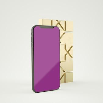 画面のスマートフォンのモックアップ3dレンダリングを使用したフルシーンのイスラム