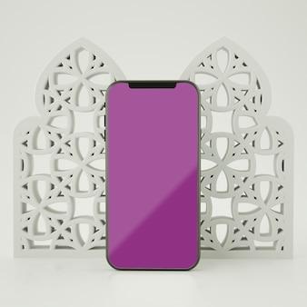 画面のスマートフォンのモックアップ3dレンダリングを使用したフルシーンイスラム