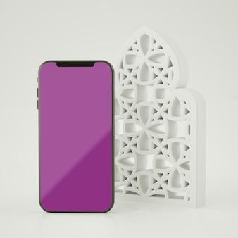 Полная сцена с исламским макетом экрана смартфона 3d-рендеринга
