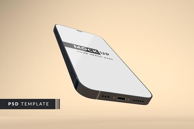 フルスクリーンの黒いスマートフォンのモックアップ