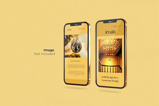 Полноэкранный дизайн макета смартфона gold