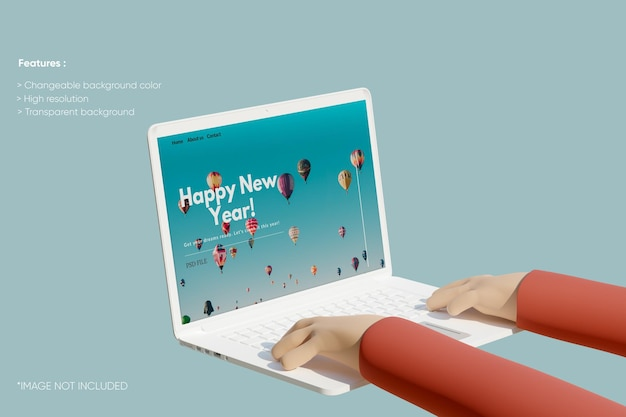 3d 손으로 전체 화면 노트북 점토 모형