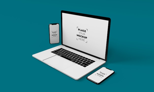 フルスクリーンのスマートフォンとラップトップのモックアップデザイン