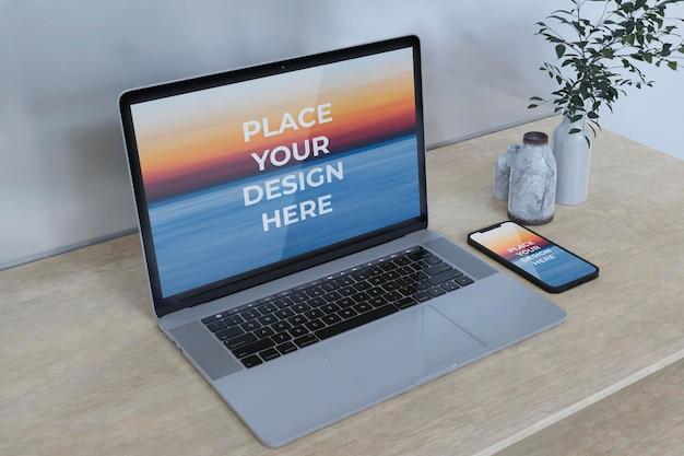 フルスクリーン-スマートフォンとラップトップ-モックアップデザイン