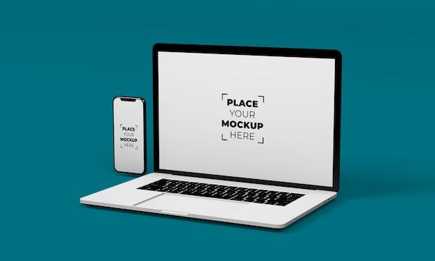 Design mockup per smartphone e laptop a schermo intero
