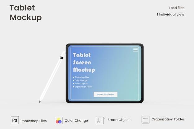 フルスクリーンタブレットモックアップデザインプレミアムpsd
