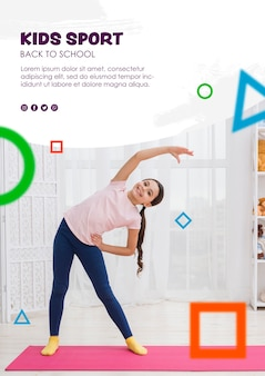 Full shot girl stretching for kids sport template