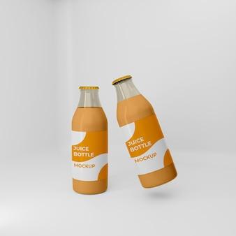 Полностью редактируемый 3d макет бутылки апельсинового сока